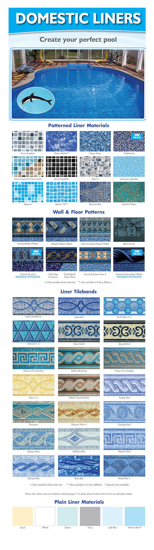 Patterned Liner Materials and Tilebands