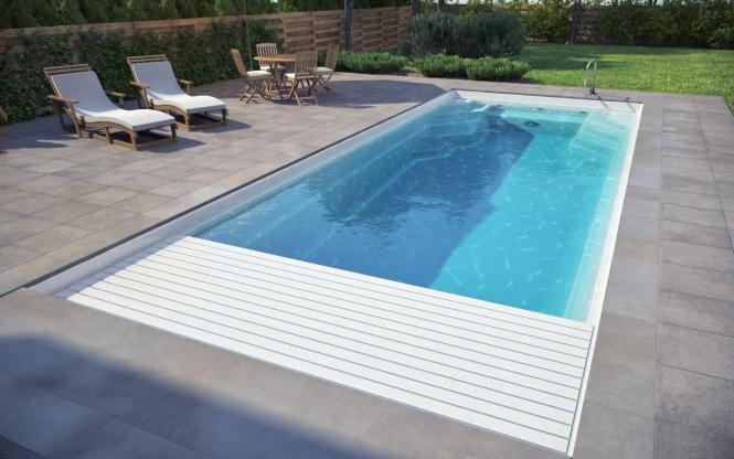 Luxe pools with in built slatted cover for Piscinas cubiertas barcelona