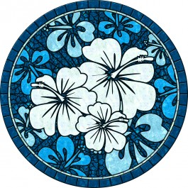 Blue hibiscus Pool Mat