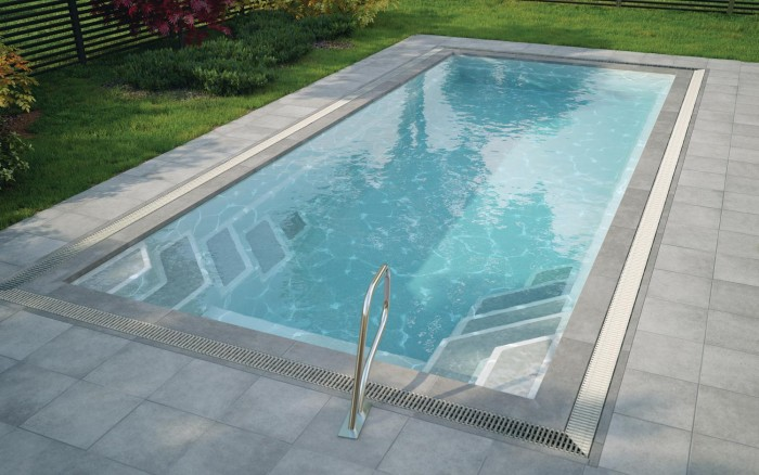 Luxe one piece grp pool kits mirror line for One piece inground swimming pool