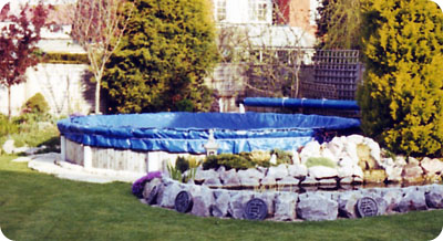Winter debris covers for round above ground or partly in Winter chemicals for swimming pools