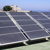 Solar panels heating pools