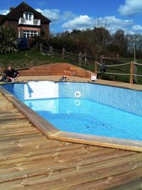 Decking installed, lights fitted, pool filling