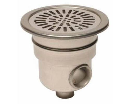"Stainless steel main drain 1.5"" base - 2"" side outlet"