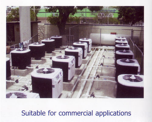 Swimming pool heat pumps in-line for commercial application