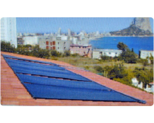Suncell panels installed on roof top, Calpe, Spain