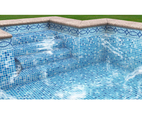 Mosaic Tiled Liner Pool with Lisboa Blue Tile Band