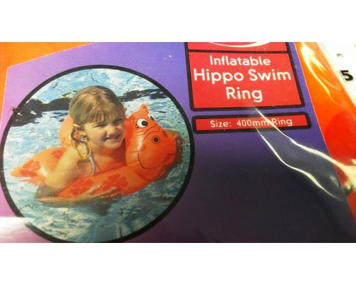 Inflatable Hippo Swim Ring