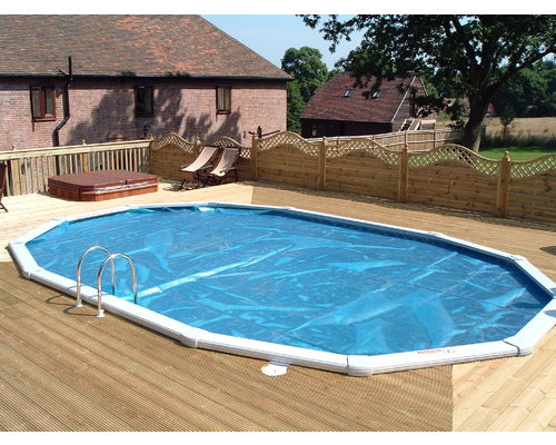 24ft x 15ft  'Classic' Aluminium Oval with surface level decking