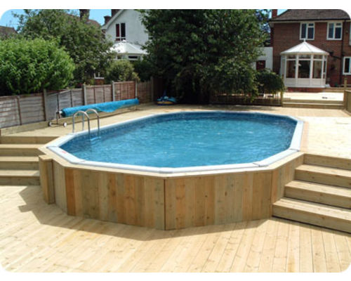 30ft x 15ft  'Classic' Oval with split level decking and timber cladding