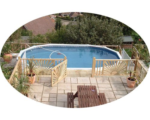 21ft x 12ft 'Classic' Oval viewed from upper patio area
