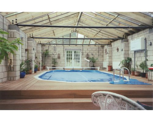 Indoor 30ft x 15ft 'Classic' Aluminium Pool with surface level deck surround